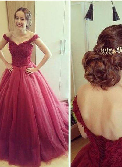 Tulle Sleeveless Ball-Gown Prom Dresses Off-the-Shoulder Appliques Lace Floor-Length (018210338)