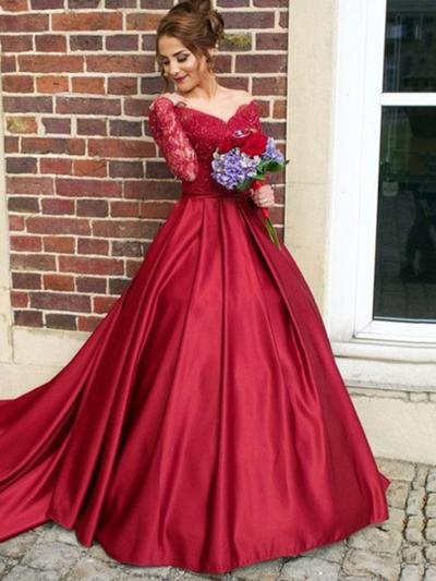 Ball-Gown Off-the-Shoulder Satin Long Sleeves Sweep Train Evening Dresses (017196747)