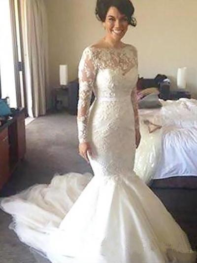 Glamorous Court Train Trumpet/Mermaid Wedding Dresses Scoop Tulle Long Sleeves (002147988)