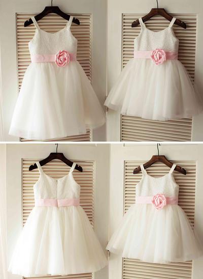 Glamorous Knee-length A-Line/Princess Flower Girl Dresses Straps Tulle/Sequined Sleeveless (010196722)