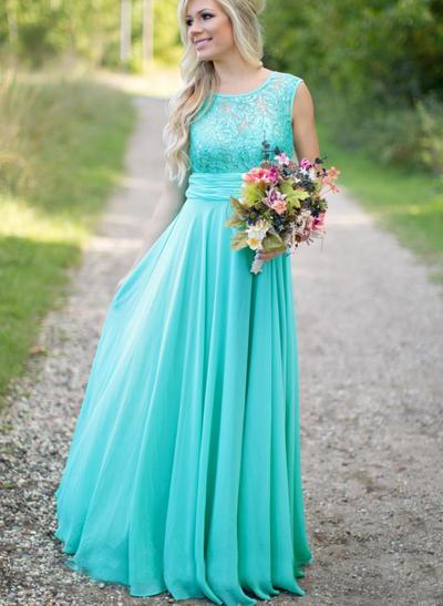 Chiffon Sleeveless A-Line/Princess Bridesmaid Dresses Scoop Neck Ruffle Floor-Length (007211582)