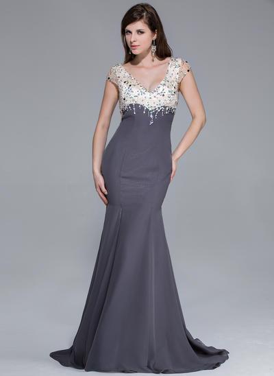Chiffon Charmeuse Short Sleeves Trumpet/Mermaid Prom Dresses V-neck Beading Split Front Sweep Train (018025646)