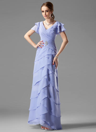 A-Line/Princess V-neck Chiffon Short Sleeves Floor-Length Beading Cascading Ruffles Mother of the Bride Dresses (008002220)