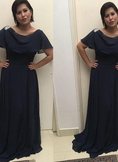 A-Line/Princess Scoop Neck Chiffon Short Sleeves Sweep Train Ruffle Mother of the Bride Dresses (008212725)