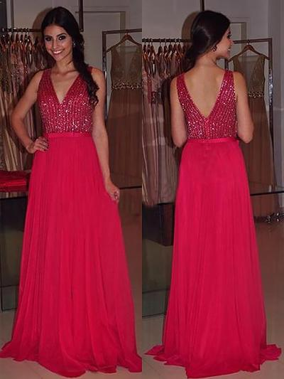 Chiffon Sleeveless A-Line/Princess Prom Dresses V-neck Sash Beading Sweep Train (018148457)