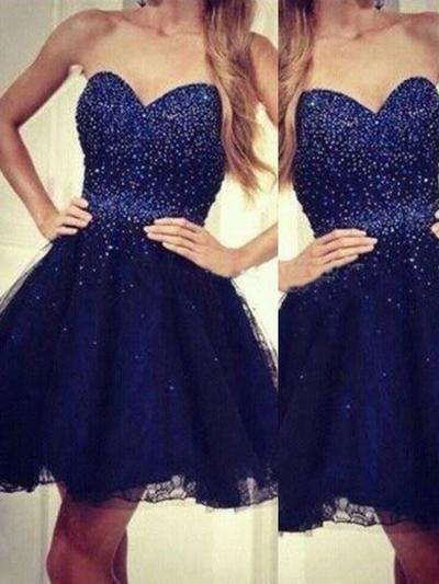 A-Line/Princess Sweetheart Organza Sleeveless Short/Mini Homecoming Dresses (022212265)