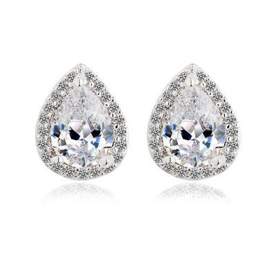 Earrings Zircon/Platinum Plated Pierced Ladies' Shining Wedding & Party Jewelry (011164216)