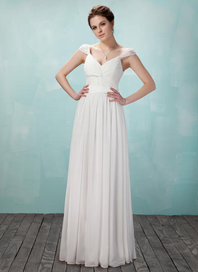 A-Line/Princess V-neck Chiffon Sleeveless Floor-Length Ruffle Beading Evening Dresses (017018950)