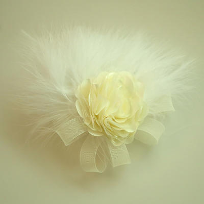 """Forehead Jewelry/Hats Wedding/Special Occasion/Party Net Yarn/Feather/Silk Flower 5.91""""(Approx.15cm) 3.15""""(Approx.8cm) Headpieces (042159528)"""