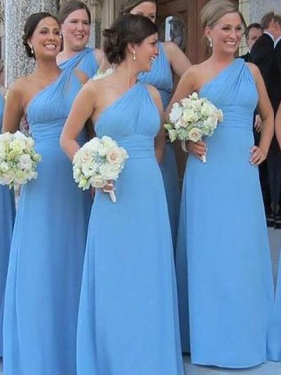 Chiffon Sleeveless Sheath/Column Bridesmaid Dresses One-Shoulder Ruffle Floor-Length (007211572)