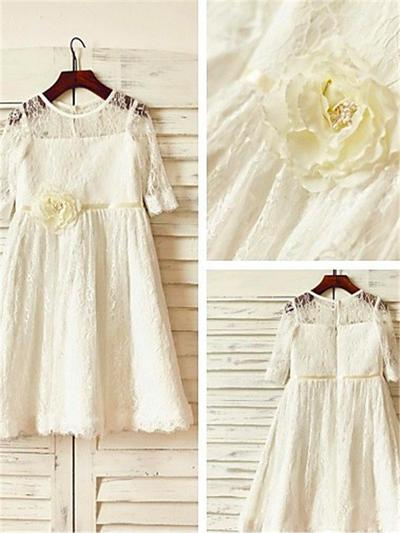 Princess Tea-length A-Line/Princess Flower Girl Dresses Scoop Neck Lace 3/4 Sleeves (010212020)