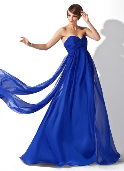 Empire Sweetheart Chiffon Sleeveless Watteau Train Ruffle Evening Dresses (017020709)