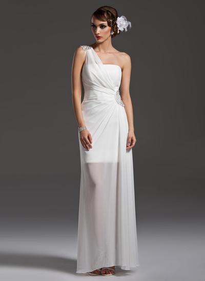 Chiffon Sleeveless Sheath/Column Prom Dresses One-Shoulder Ruffle Beading Floor-Length (018004790)
