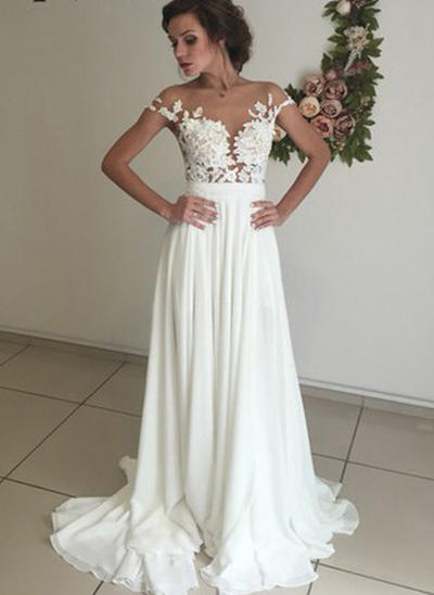 Sexy Sweep Train A-Line/Princess Wedding Dresses Scoop Neck Chiffon Short Sleeves (002147932)