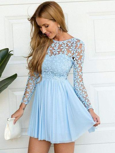A-Line/Princess Scoop Neck Chiffon Long Sleeves Short/Mini Lace Evening Dresses (017217511)