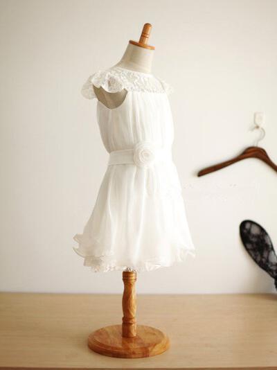 Fashion Tea-length A-Line/Princess Flower Girl Dresses Scoop Neck Chiffon Sleeveless (010211982)