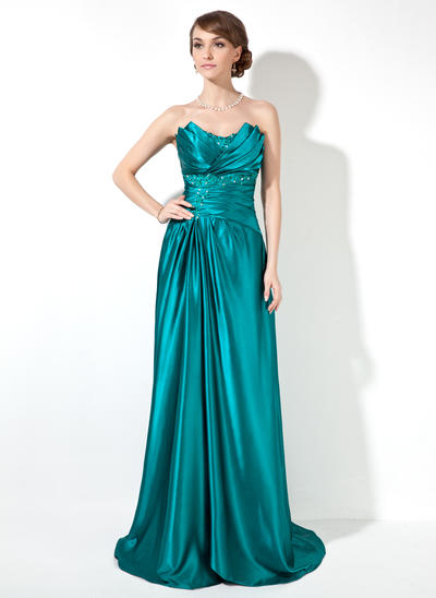 Charmeuse Sleeveless Sheath/Column Prom Dresses Scalloped Neck Ruffle Beading Sweep Train (018002473)