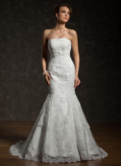 Sexy Chapel Train Trumpet/Mermaid Wedding Dresses Strapless Tulle Lace Sleeveless (002000634)