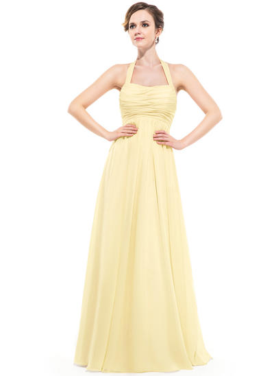 Chiffon Sleeveless Empire Bridesmaid Dresses Halter Ruffle Floor-Length (007063000)