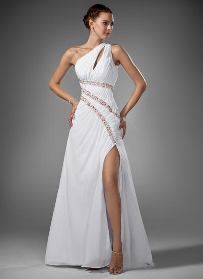 Chiffon Sleeveless A-Line/Princess Prom Dresses One-Shoulder Ruffle Beading Split Front Sweep Train (018005081)