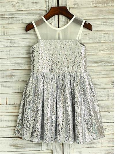 2019 New Knee-length A-Line/Princess Flower Girl Dresses Scoop Neck Sequined Sleeveless (010211959)