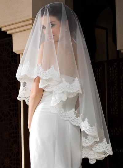 Walzer Braut Schleier Tüll Einschichtig Ovale mit Spitze Saum Brautschleier (006151516)