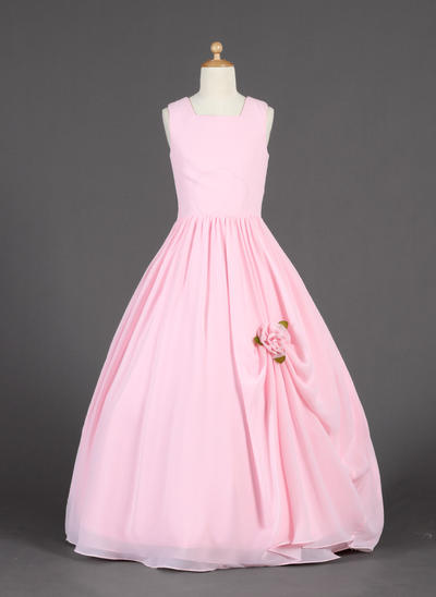 Glamorous Floor-length Ball Gown Flower Girl Dresses Scoop Neck Chiffon Sleeveless (010014626)