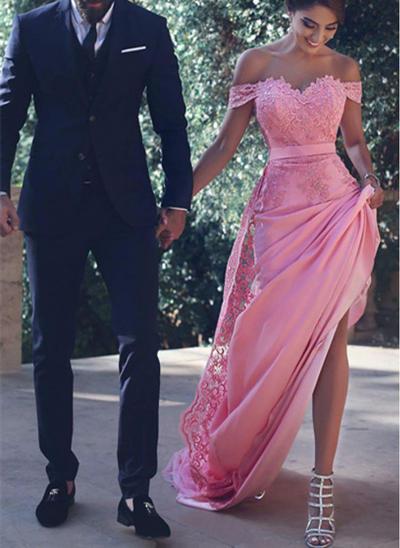 Satin Sleeveless Trumpet/Mermaid Prom Dresses Off-the-Shoulder Beading Court Train (018145551)