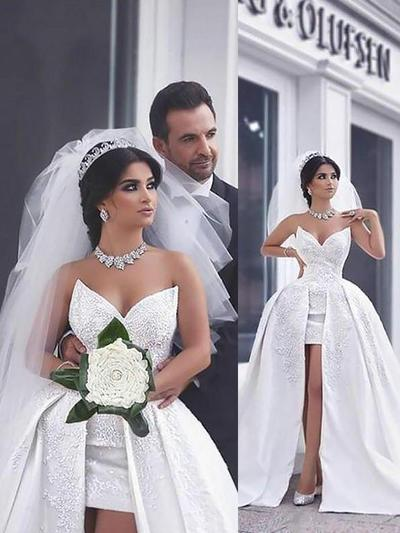Princess Chapel Train Ball-Gown Wedding Dresses Sweetheart Satin Sleeveless (002210837)