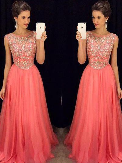 Sleeveless A-Line/Princess Prom Dresses Scoop Neck Beading Floor-Length (018210933)