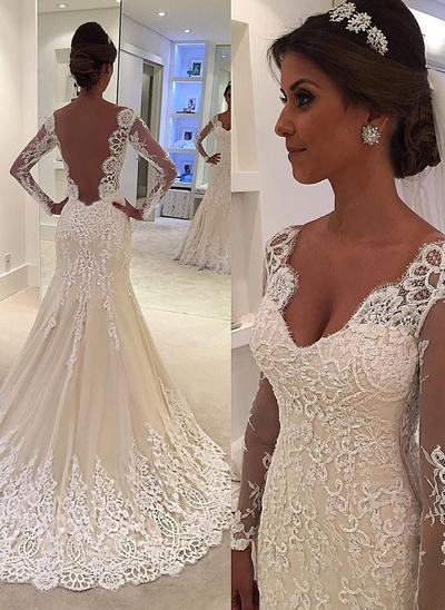 Sexy Court Train Trumpet/Mermaid Wedding Dresses V-neck Tulle Lace Long Sleeves (002144900)