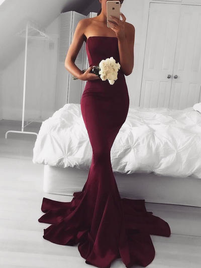 Trumpet/Mermaid Strapless Satin Sleeveless Sweep Train Evening Dresses (017216465)