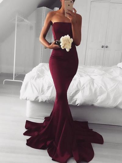 Satin Sleeveless Trumpet/Mermaid Prom Dresses Strapless Sweep Train (018145952)