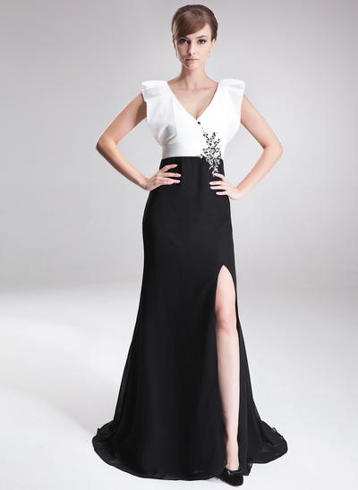 A-Line/Princess V-neck Chiffon Sleeveless Sweep Train Beading Sequins Split Front Mother of the Bride Dresses (008006187)