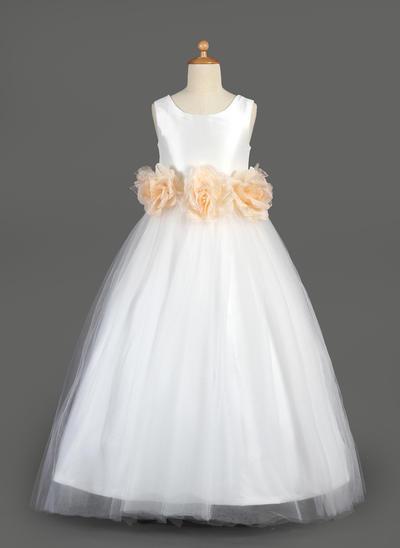 Prinzessin Bodenlang A-Linie/Princess-Linie Blumenmädchenkleider U-Ausschnitt Taft/Tüll Ärmellos (010014649)
