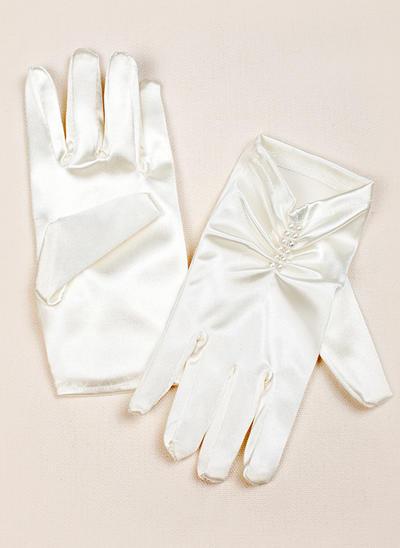 Elastische Satin Kinder Handschuhe Handgelenk Länge Flower Girl Handschuhe Fingertips Handschuhe (014192016)