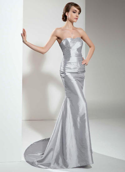 Trumpet/Mermaid Sweetheart Taffeta Sleeveless Sweep Train Ruffle Beading Evening Dresses (017021129)