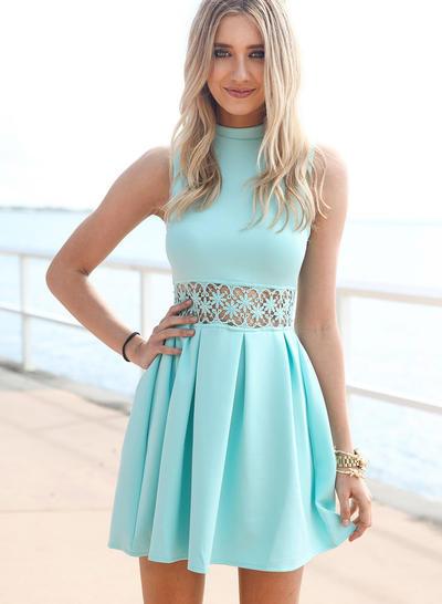 A-Line/Princess Sleeveless Short/Mini Cocktail Dresses (016212695)