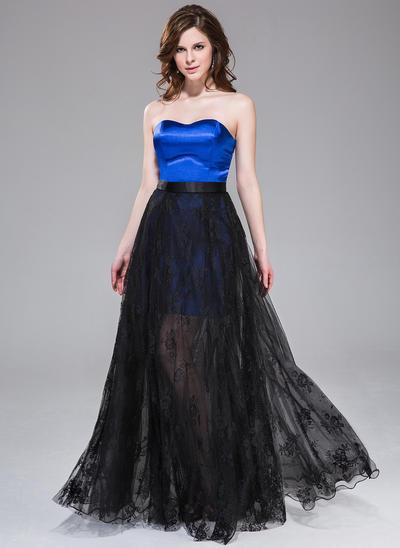 Satin Tulle Lace Sleeveless A-Line/Princess Prom Dresses Sweetheart Floor-Length Detachable (018042453)