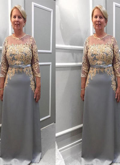 A-Line/Princess Scoop Neck Chiffon 3/4 Sleeves Floor-Length Appliques Lace Mother of the Bride Dresses (008212739)