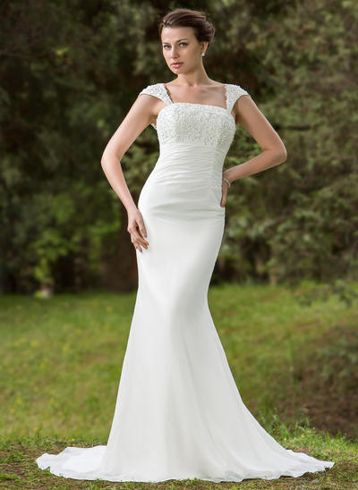 Luxurious Court Train Trumpet/Mermaid Wedding Dresses Square Chiffon Sleeveless (002001702)