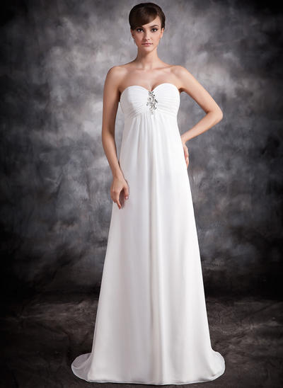 Empire Sweetheart Chiffon Sleeveless Sweep Train Ruffle Beading Evening Dresses (017016876)