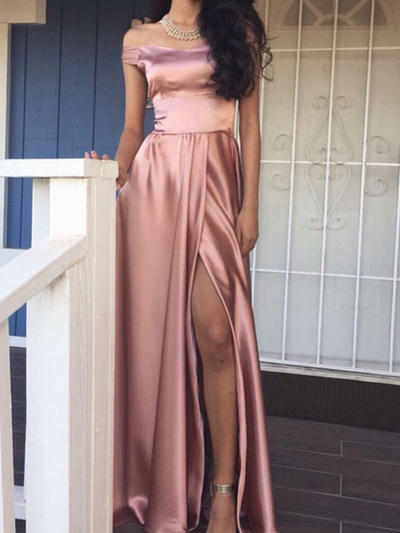 Charmeuse Sleeveless A-Line/Princess Prom Dresses Off-the-Shoulder Split Front Floor-Length (018145937)