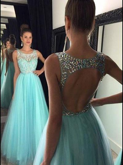 Tulle Sleeveless A-Line/Princess Prom Dresses Scoop Neck Beading Floor-Length (018212210)