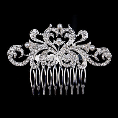 """Combs & Barrettes Wedding/Special Occasion/Party Rhinestone/Alloy/Imitation Pearls 3.94""""(Approx.10cm) 2.36""""(Approx.6cm) Headpieces (042156954)"""