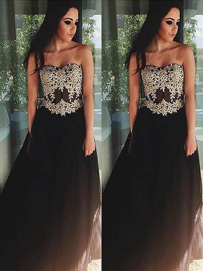 A-Line/Princess Sweetheart Tulle Sleeveless Floor-Length Appliques Lace Evening Dresses (017210895)