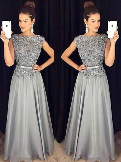 A-Line/Princess Scoop Neck Chiffon Sleeveless Floor-Length Sash Beading Appliques Lace Evening Dresses (017217831)