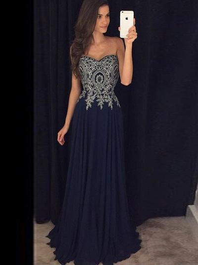 Chiffon Sleeveless A-Line/Princess Prom Dresses Sweetheart Appliques Lace Floor-Length (018210276)
