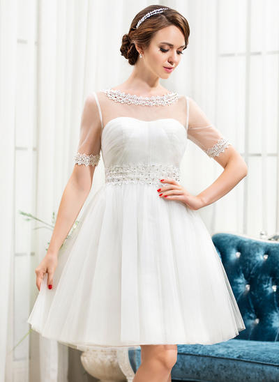 Gorgeous Knee-Length A-Line/Princess Wedding Dresses Scoop Tulle Short Sleeves (002210575)