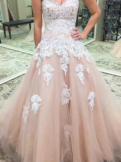 Tulle Sleeveless Ball-Gown Prom Dresses Sweetheart Appliques Lace Floor-Length (018210227)